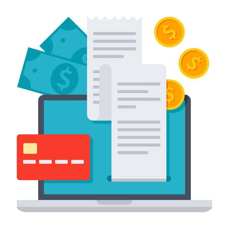 business credit application: Laptop with coins, dollars and bills concept for internet banking, online payments Illustration