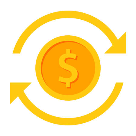 Coin with arrows concept for funds transfer