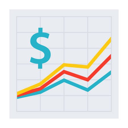 Concetto di profitto con la linea grafica e il simbolo del dollaro