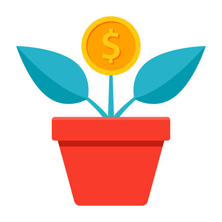 Returns on investment concept with home plant in flower pot