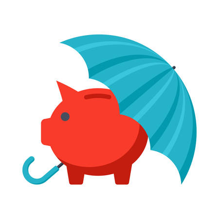 Piggy bank with umbrella concept for safe investment, finance insurance or protection Illustration