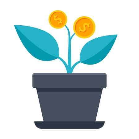 Successful investment concept with home plant in flower pot