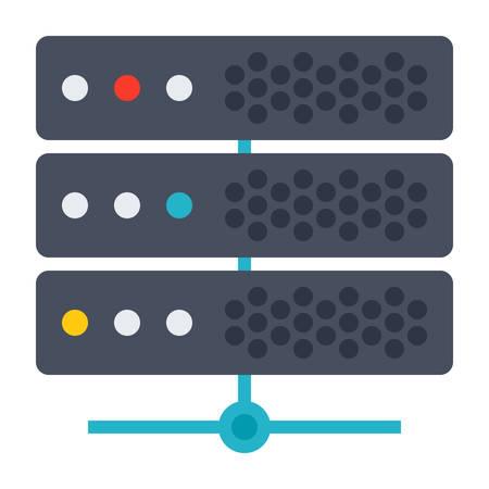 webhosting: Big data concept with server and network Illustration