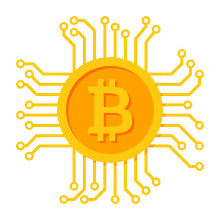 Digital money icon for bitcoin, cryptocurrency, virtual currency and ecash Vector Illustration