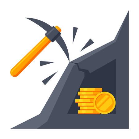 Bitcoin Mining Icon Vectores