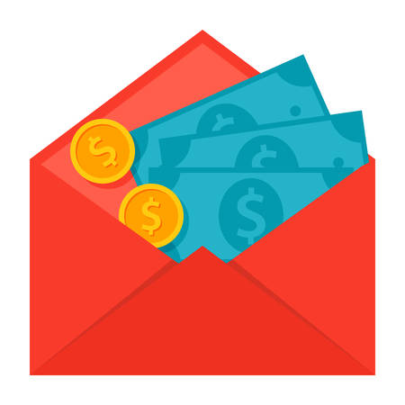 money transfer: Concept of money transfer like a envelope with coins and banknotes