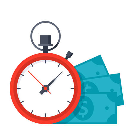 Time is money concept with stopwatch and dollar banknotes Ilustracja