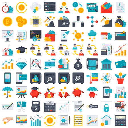 FinTech and Finance icons Vector Illustration