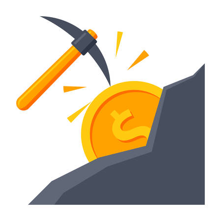 pickaxe: Making money concept with pickaxe and coin in mountain