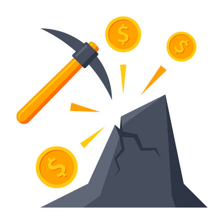Making money concept with pickaxe and coins in mountain