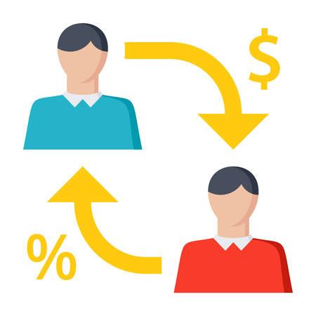P2P lenen concept met kredietgever en kredietnemer