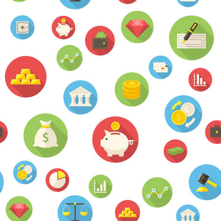 finance icons: Seamless pattern with finance icons Stock Photo