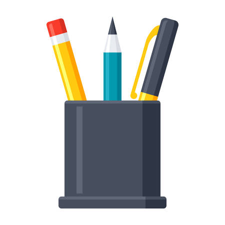 pens: Pencil Stand Icon Illustration