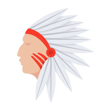 Cultural anthropology concept with native american indian, vector illustration in flat style Illustration