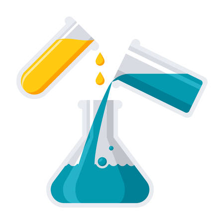 Experiment or chemistry concept with laboratory flask and test tube, vector illustration in flat style