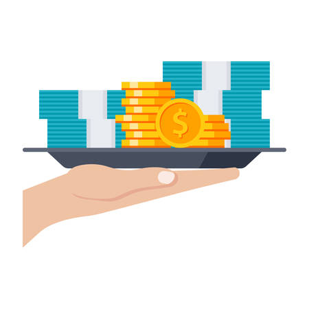 grant: Grant concept with money on the tray, vector illustration in flat style