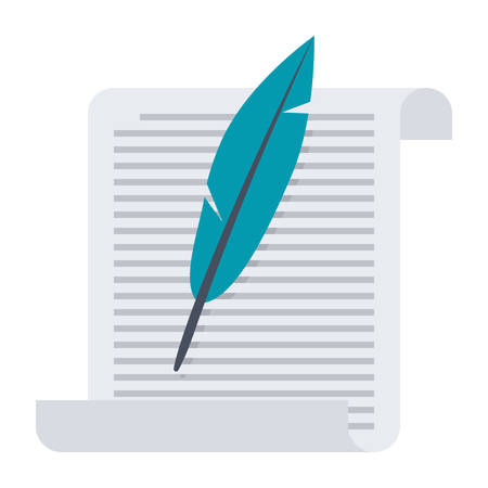 poet: Paper with Feather Illustration