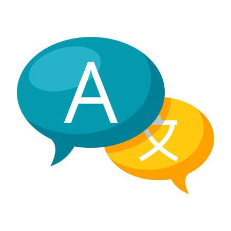 Linguistikkonzept mit Spracheblase, Sprachübersetzung, Vektorillustration in der flachen Art Vektorgrafik