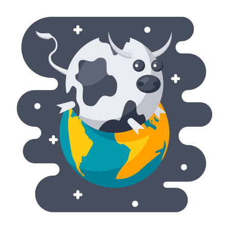 spoof: Parody science concept with spherical cow in a vacuum, scientific humor, vector illustration in flat style