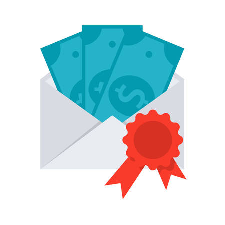 grant: Scientific prize concept with money in envelope, grant icon, vector illustration in flat style Illustration