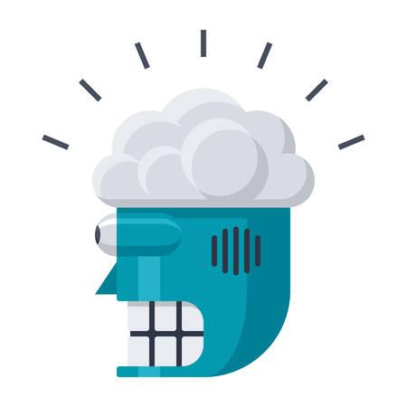 brain illustration: Robot Head with Brain Icon