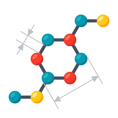 mineral: Scientific modeling concept with chemical structural formula, vector illustration in flat style