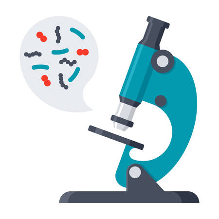 virus cell: Scientific research concept with microbes in microscope, vector illustration in flat style