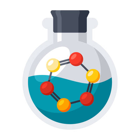 Laboratory Flask with Molecule Illustration
