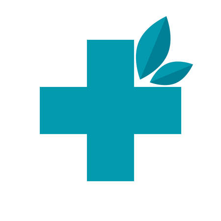 Herbal medicine concept with cross and leaves, vector illustration in flat style Ilustração