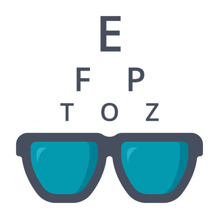 Optometry concept with glasses and Snellen chart, vector icon in flat style Illustration