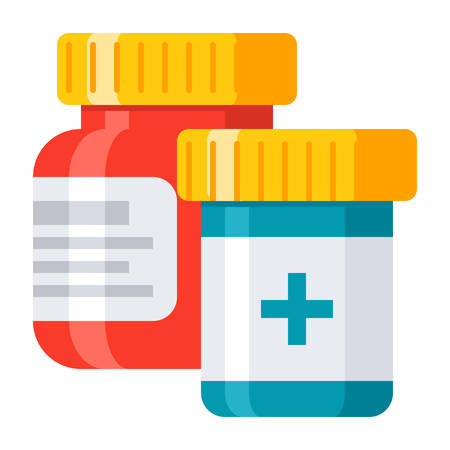 Pharmaceutical drugs and medicine tablets in bottle, vector illustration in flat style