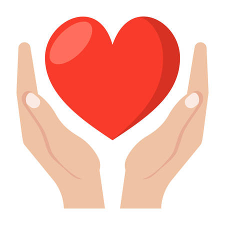 give: Heart care concept with hands and heart, vector icon in flat style