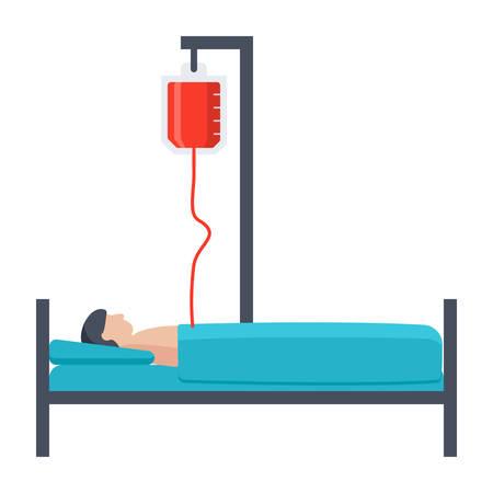 Paciente, acostado, cama Ilustración de vector