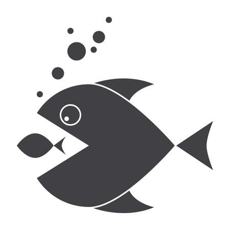 Mergers and acquisitions concept with two fish, vector silhouette