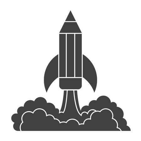science symbols metaphors: Pencil Launch Illustration Illustration