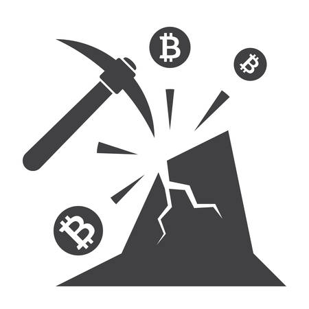 Bitcoin Mining Icon Illustration