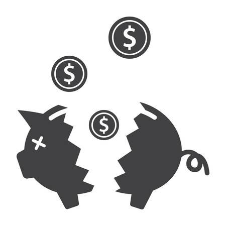 Broken Piggy Bank Illustration