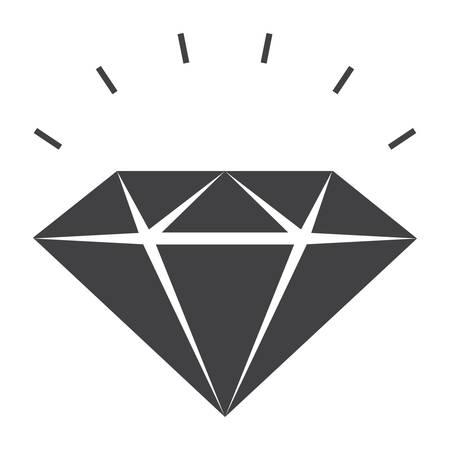 Sparkling Diamond Icon, silhouette isolated on white background Illustration