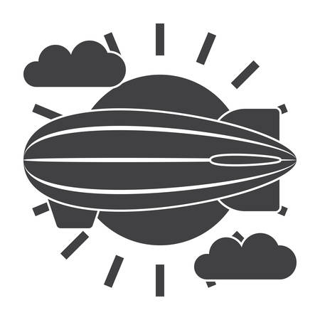 dirigible: Aeronautics concept with airship, sun and clouds, vector silhouette