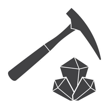 Geology concept with hammer and minerals, vector silhouette