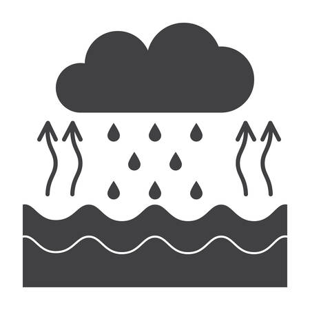 Hydrology concept with water cycle diagram, vector silhouette Illustration
