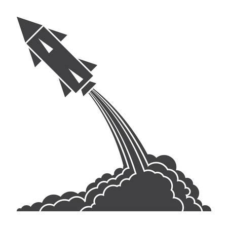Ballistics concept with rocket launch, vector silhouette