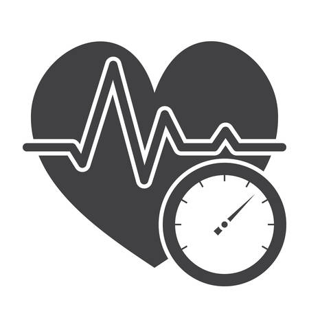 checker: Blood pressure concept with blood pressure meter and heart, vector silhouette