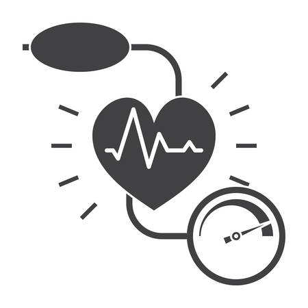 Blood pressure concept with blood pressure meter and heart, vector silhouette