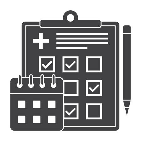 scheduler: Appointment scheduler concept with document, calendar and pencil, vector silhouette