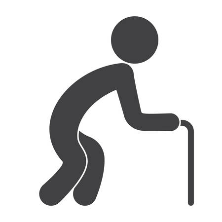 gerontology: Old man with walking stick for geriatrics concept, vector silhouette Illustration