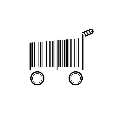 Barcode shopping cart, vector illustration on white background