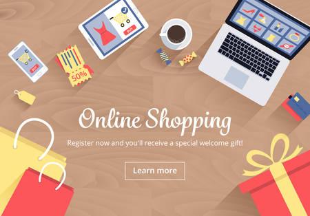 Online Shopping Concept Vektoros illusztráció