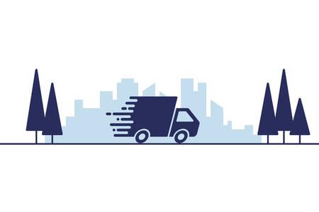 Illustrazione di vettore di concetto di consegna o spedizione veloce Vettoriali