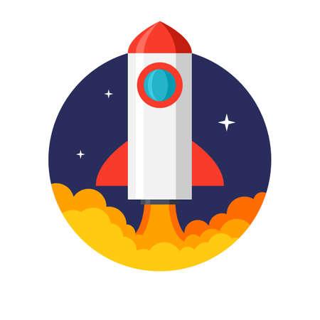 Rocket launch, Flat design, vector illustration, isolated on white background Imagens